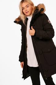 faux fur trim hooded padded jacket black