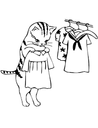 Disegno Di Gatta Che Prova I Vestiti Da Colorare Disegni Da