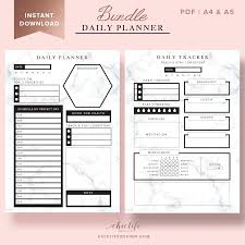 Day Planner Hourly Daily Planner Bundle Hourly With Marble Texture Chic Life Design