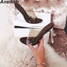Aneikeh <b>2019 New PVC Jelly</b> Sandals Crystal Open Toed Sexy Thin ...