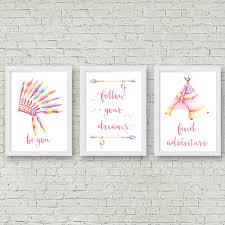 set of 3 watercolour boho tribal nursery bedroom wall art prints