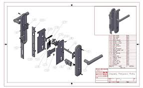 handle door locked system autocad sketch project by djodi erlangga and kiki kurniawan upnvj