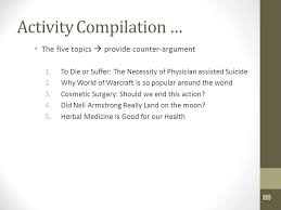 counter arguments ms tanner rm fall expanding your position  the five topics  provide counter argument 1 to die or