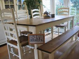 large chunky pine board dining table 4 chairs bench seat 8 shabby chic farmhouse