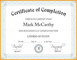 Fillable Certificates Free Certificate Of Completion Word Template Certificate Of