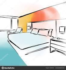 Feng Shui Schlafzimmer Konzept Design Skizze Stockvektor Mail