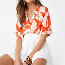 <b>Summer Blouse Women</b> Short Sleeve Chiffon <b>Blouse Casual</b> Boho ...