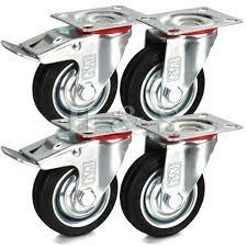 H&S 4 x Heavy Duty 75mm Rubber Swivel Castor Wheels Trolley Furniture  Caster Black