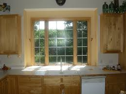 Inspiration Smart Oak Wooden Window Trim As Treatment Kitchen Window Ideas  Added Unfinished Wooden Cabinetry Set