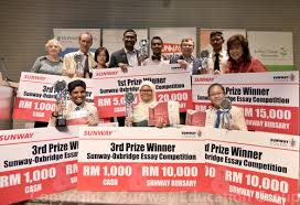 college news sunway oxbridge essay competition winners  margaret hall 2nd row from left mark disney dato p kamalanathan 2nd row 4th from left tan sri razman hashim 2nd row 3rd from right and dr