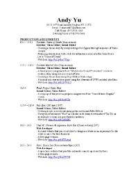 andy yu s post production résumé