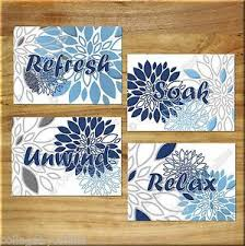Choose wall art for the bathroom to match an existing color scheme or design motif. Navy Blue And Gray Wall Art Bathroom Spa Picture Prints Decor Floral Relax Soak Ebay