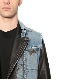 rta denim vest leather biker jacket black blue men clothing jackets