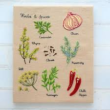 Herb And Spice Wall Chart Herbs Spices Wall Chart Hand Embroidery Pattern Instant