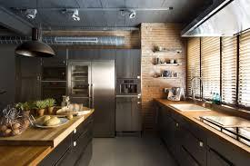 Loft Kitchen Kitchen Brick Wall Island Loft Style Home In Terrassa Spain