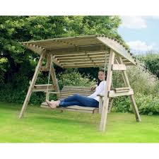 3 seat wooden garden swing chair seat