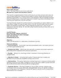 Skills And Abilities For Resume Basic Sample Resume Skills Menu And Resume 64