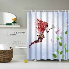 bathroom palm tree fabric shower curtains patterned valance white acrylic bathtub red unique mirror on