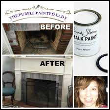 the purple painted lady pure white chalk paint annie sloan fireplace brick