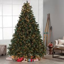 Classic Full Pre-lit Christmas Tree with Berries and Pine Cones - Clear -  7.5