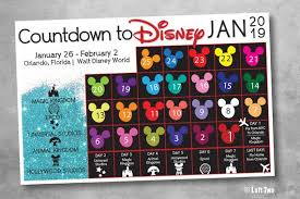 30 Day Countdown To Disney Chart Trip Countdown Christmas Vacation Calendar Surprise Vacation Gift Customize Digital Download