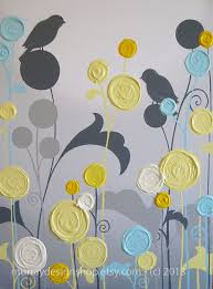 yellow and grey art textured tree acrylic by murraydesign