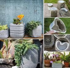 diy concrete planters flowers plants planters
