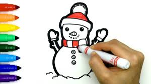 These guide lines will help you draw the snowman's face. Cute Christmas Snowman Cartoon Coloring And Drawing Easy Tutorials For Kids Toddlers Step By Step Youtube