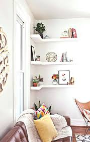 room wall decoration ideas white floating corner wall shelves for kids room decoration stunning living room