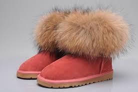 ugg fox fur mini boots 5854 red
