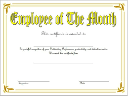 Employee Of The Month Award Employee Of The Month Certificate Template Word Free 5 One