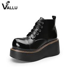 <b>2018 VALLU Women Shoes</b> Wedge Boots Lace Up Roud Toes ...