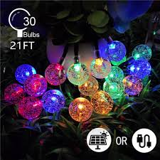 Colored String Lights Arichomy Colorful String Lights Decorative Light Christmas Day 21ft 30 Globe Starry Bulbs Solar Led Fairy Lights For Party Wedding Patio Indoor
