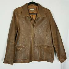 details about the territory ahead mens distressed leather brown jacket sz large