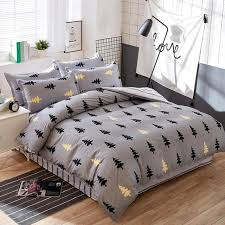 new style silver black pine autumn winter bedding sets flat bed sheet duvet cover pillowcase king
