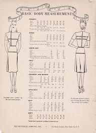 1950s Clothing Size Chart Sewing Pattern Sizes Patterns From The Past