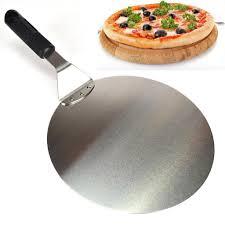 10'' Round Stainless Steel <b>Pizza</b> Spatula <b>Peel Shovel Turner</b> Cake ...