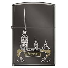 <b>Зажигалка Zippo Петропавловская крепость</b> Black Ice®, латунь ...