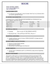 Computer Engineering Student Resume Format Freshers Template S
