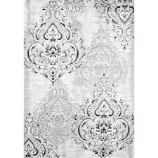3 x 5 small elegant white and gray area rug platinum