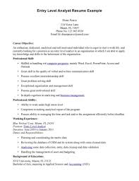 Resume Objective Examples Entry Level Finance Augustais