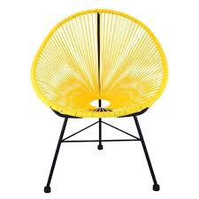 Image Fun Shop Acapulco Yellow Plastic Patio Chair With Black Metal Base Free Shipping Today Overstockcom 19431164 Overstock Shop Acapulco Yellow Plastic Patio Chair With Black Metal Base