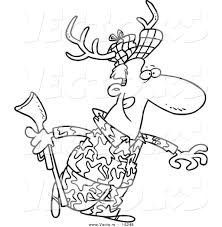 Small Picture Vector of a Cartoon Deer Hunter Wearing Antlers Outlined