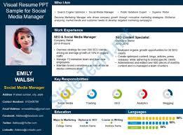 Resume Powerpoint Presentation Templates Visual Resume Ppt Sample