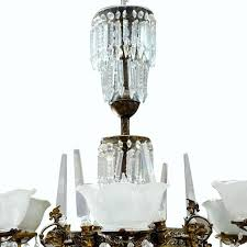 early victorian renaissance style brass and crystal gas style chandelier for