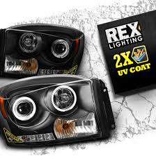 Halo Lights For 2006 Dodge Ram Rex Projector Headlight For 06 09 Dodge Ram Pair Halo Drl Black Clear