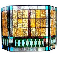 stained glass fire screen fireplace patterns mission design free screens
