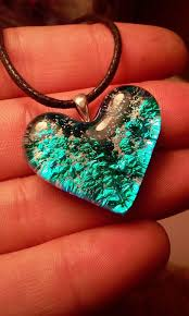 dichroic gl heart cremation jewelry ashes infused pet urn