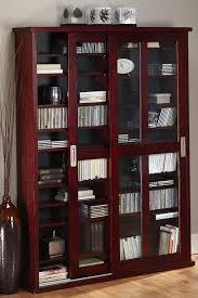 using oak veneer double multimedia case with glass doors media cabinet