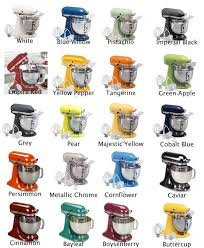 kitchenaid mixer color chart. a stand mixer in one of these pretty colors. maybe the blues? kitchenaid color chart l